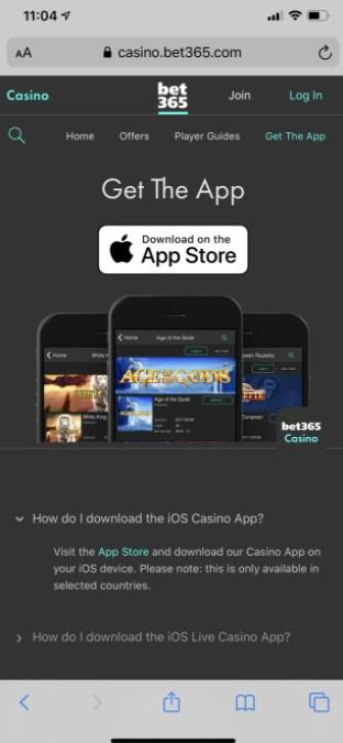 Installation iPhone app Bet365