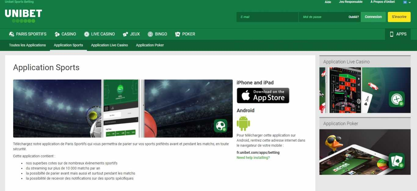 Applications Unibet Android et Iphone