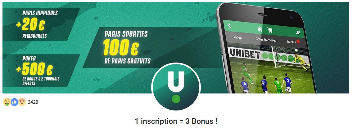 Bonus de bienvenue pour les débutants d'Unibet